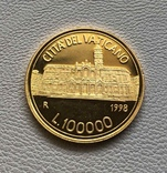 Ватикан 100000 лир 1998 год золото 917' 15 грамм, фото №2