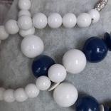 Бусы  винтажные бело-синие 63 см,Яблонекс, фото №9