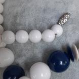 Бусы  винтажные бело-синие 63 см,Яблонекс, фото №10
