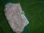 Сумочка розовая расшитая бусинами.бисером и пайетками, фото №3