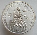 """3 марки 1930 г. (G) Веймарская республика """"Вальтер фон дер Фогельвейде"""", серебро, фото №3"""