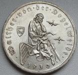 """3 марки 1930 г. (G) Веймарская республика """"Вальтер фон дер Фогельвейде"""", серебро, фото №4"""