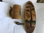 Сувениры кружка, рог и плакет на срезе березы, фото №2