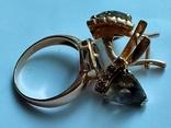 Золотой гарнитур. Серьги и кольцо., фото №3