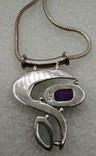 Кулон Подвеска Серебро 925 на цепочке Аметист и Лунный Камень, фото №5