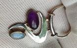 Кулон Подвеска Серебро 925 на цепочке Аметист и Лунный Камень, фото №7