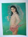 Стерео открытка эротика , девушка с зонтом, фото №3