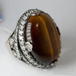 Серебряное кольцо с ''тигровым глазом'' и цирконами, фото №3