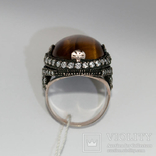 Серебряное кольцо с ''тигровым глазом'' и цирконами, фото №5