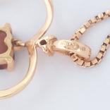 Винтажная золотая подвеска ''сердце'' с натуральным гранатом на цепочке, фото №3