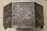 Серебряная шкатулка с флоральным декором., фото №5