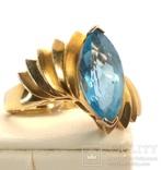 Винтажное золотое кольцо с натуральным топазом, фото №5