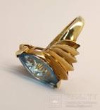 Винтажное золотое кольцо с натуральным топазом, фото №6