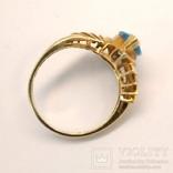 Винтажное золотое кольцо с натуральным топазом, фото №9