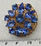 Брошь Голубые Стразы, фото №3