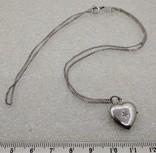 Цепочка с кулоном в виде Сердечка Серебро 925, фото №2