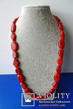 Бусы-колье из полированного губчатого коралла в серебре., фото №3