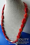 Бусы-колье из полированного губчатого коралла в серебре., фото №8