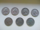25 центов США квотер 1965, 72, 80, 83, 84, 86 год, фото №2