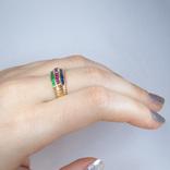 Золотое кольцо с натуральными рубинами, сапфирами, изумрудами, фото №4