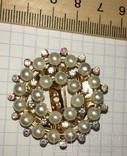 Дресс-клип, зажим для шарфа с булавкой (с жемчужинками) / дрес кліп з перлинками + бонус, фото №4