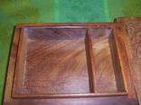 Шкатулка-папиросница с ручной резьбой из ценных пород дерева, фото №6