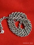 Цепочка плетение верёвка серебро, фото №4