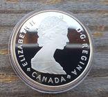 Канада 1 доллар 1985 г. Серебро. 100-летие национального парка Канады Банф. Лось., фото №3