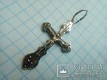 Хрестик срібний 925 з позолотою 2 г, фото №6