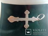 Хрестик срібний 925 з позолотою 2 г, фото №7