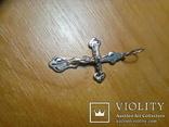Хрестик срібний 925 з позолотою 2 г, фото №9