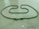 Ланцюжок срібний 925 фантазійного плетіння перлина 51 см, фото №4