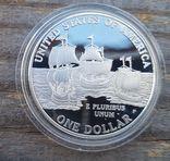 США 1 доллар 2007 г. 400-летие основания Джеймстауна. Пруф. Корабль, фото №3