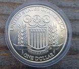США 1 доллар 1992 г. Серебро. Бейсбол. XXV Летние Олимпийские игры 1992 года в Барселоне., фото №3