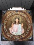 Иисус Христос - спаситель 19 век , с серебряными накладками, фото №2