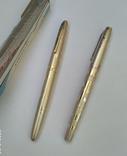 2 перьевые ручки, позолоченное перо, Китай (времен СССР), фото №3