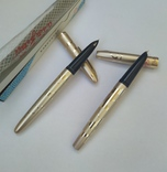 2 перьевые ручки, позолоченное перо, Китай (времен СССР), фото №4