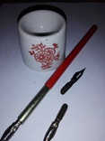 Ручка перьевая с перьями и чернильницей СССР, фото №3