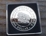 США 1 доллар 1997 г. 50-летие Джеки Робинсона. Бейсбол. Серебро. Пруф, фото №3