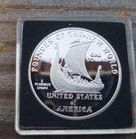 США 1 доллар 2000 г. Лейф Эриксон, 1000-летие открытия Америки.  Серебро. Пруф, фото №2