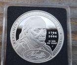 США 1 доллар 2006 г. 300-летие Бенджамина Франклина 1706-2006 гг.  Серебро. Пруф, фото №2