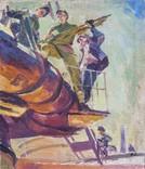 """В.Кнышевский""""На стройках Родины"""", х.м.69*59см, фото №2"""