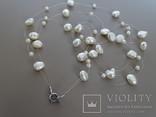 Трехрядное жемчужное ожерелье, серебро., фото №4