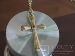 Крестик с цепочкой. Позолота, камушек., фото №8