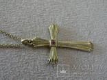 Крестик с цепочкой. Позолота, камушек., фото №12