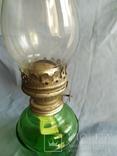 Керосиновая лампа зелёное стекло, фото №6