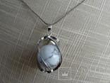 Подвеска спиральная с серебренной цепочкой, камень., фото №10