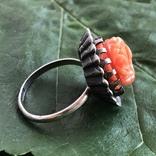 Серебряное кольцо с розой из коралла, ручная резьба, Италия, фото №6