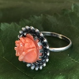 Серебряное кольцо с розой из коралла, ручная резьба, Италия, фото №7