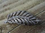 Брошь из капельного серебра с марказитамы., фото №3